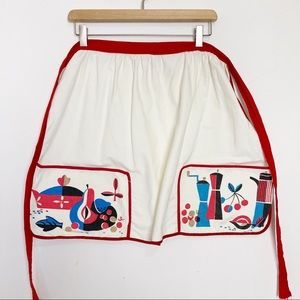 Vintage MCM hostess apron mini apron cream red